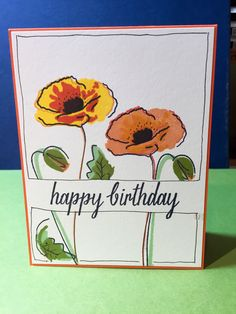 Altenew Painted Poppies stamp, My Favorite Things dye ink