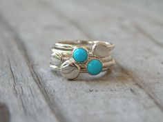 Turquoise Stacking Rings, Sterling Silver, Turquoise, Gemstone by MeSheDesignsLLC on Etsy https://www.etsy.com/listing/104577969/turquoise-stacking-rings-sterling-silver