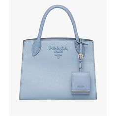 Prada Prada Monochrome Saffiano Leather Bag (42.011.655 VND) ❤ liked on Polyvore featuring bags, handbags, shoulder bags, blue, totes, tote purses, shoulder tote bags, handbags totes, zip shoulder bag and tote handbags