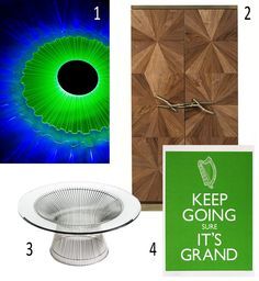 Isabel's Picks for January 2013    KEEP GOING    There is an all New Year ahead.  Fabulight, Jem Textiles, Jacinta Edge-Moody, pantone color of the year 2013, emerald, ginger & jagger, walnut cabinet, Platner Coffee Table, CA Design, Fergus O'Neill, Jam Art Prints