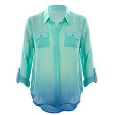 Womens Plus Size Top Ombre Chiffon Blouse, Blue/Mint. Light and comfy, perfect for summer nights