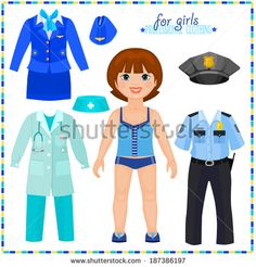Paper doll with a set of professional clothings. Cute girl. Template for cutting. Raster copy