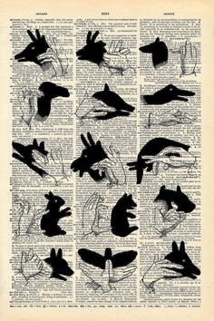 Vintage Dictionary Print Shadow Puppets by missquitecontrary, $12.00