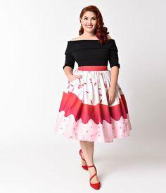 Unique Vintage Plus Size 1950s Red Velvet Cupcake High Waist Circle Swing Skirt
