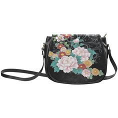 Chrysanthemum Peony Vintage Floral Kimono Pattern Classic Saddle Bag/Small (Model 1648)