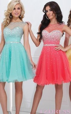 The blue and pink dresses are beautiful