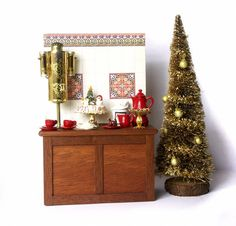Charming Christmas Miniature Coffee Bar for Your Dollhouse by DinkyWorld at Etsy