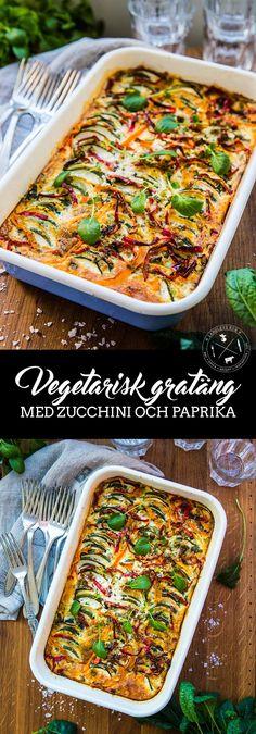 Vegetarisk gratäng med zucchini och paprika Hade i två selleri, en extra morot och en mozzarella Easy Healthy Recipes, Veggie Recipes, Wine Recipes, Vegetarian Recipes, Snack Recipes, Healthy Food, Paprika Recipes, Vegetarian Casserole, Anti Inflammatory Recipes