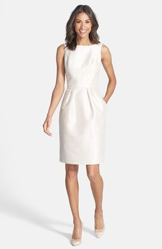 Color Reference: Alfred Sung Boatneck Sheath Dress available at White Satin Dress, Satin Dresses, Short Dresses, Dresses For Work, Summer Dresses, Mode Costume, Rehearsal Dinner Dresses, Wedding Dress Accessories, Bridesmaid Dresses