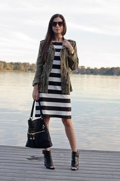 black-and-white-stripe-shift-dress-olive-military-jacket-5