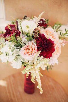 Blush and Burgundy Fall Wedding Bouquet / http://www.deerpearlflowers.com/burgundy-and-blush-fall-wedding-ideas/