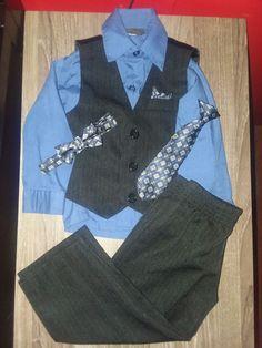 1748e4ef50 24 Month Boys Suit 5 Piece Pants Shirt Vest Tie And bow Tie  fashion