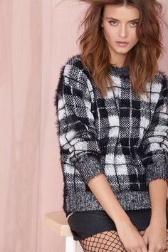 Motel Check Me Out Sweater- Black/White | Shop What's New at Nasty Gal