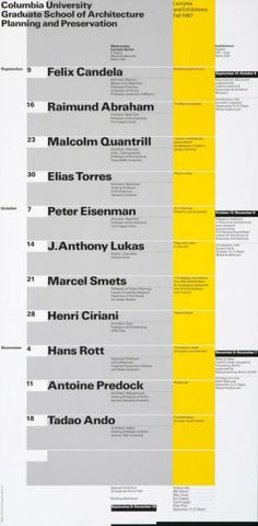 Columbia University - Graduate School of Architecture Planning and Preservation - Lectures and Exhibitions - Fall 1987 - Wednesday Lecture Series-Plakat