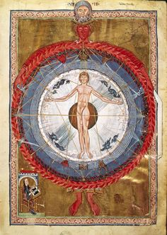Nearly 300 years before Leonardo da Vinci, there was St. Hildegard of Bingen.    Title: The Creation with the Universe and the Cosmic Man, from Revelations  Date: 1230  Artist: St. Hildegard of Bingen