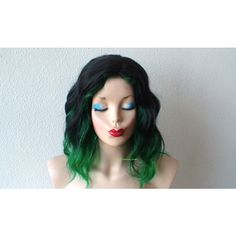 Black Green Ombre wig. Black Green color Beach wavy hairstyle wig. ($140) ❤ liked on Polyvore featuring beauty products, haircare, hair styling tools, black hair care and black haircare