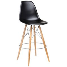 """Nuevo's Charlotte bar stool presents a modern silhouette with an oak leg quadropod base. Striking inset chromed steel details complement this black bucket seat for contemporary allure. ABS seat; Minimum purchase of 2; Wipe down with soft, dry cloth to clean; 21.25""""W x 20.5""""L x 44.25""""H"""