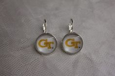 Georgia Tech Yellow Jackets Earrings Made From Football Trading Cards Upcycled…