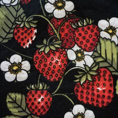 Strawberries table cloth, Swedish fabric table cloth, colorful table cloth, berries table cloth, fruits table cloth, summer table cloth