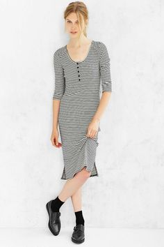 BDG Ribbed Henley Midi Dress - Urban Outfitters