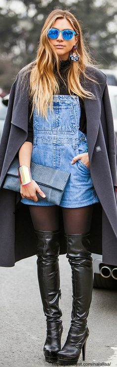 Lovin the boots..not sure what's going on with the rest...Street style - overalls ♥ na