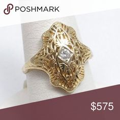Beautiful 14K Gold & Diamond Filigree Ring Pretty filigree ring with diamond....a little too big for me so not worn very much. Excellent condition. No markings. Tested at 14K gold and real diamond. Size 7 3/4 Vintage Jewelry Rings