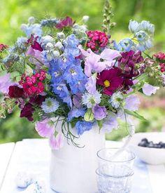 Schmuckkörbchen, Bartnelken und Rittersporn: dezent nach Vanille duftend verschönert dieser bunte Blumenstrauß den Frühling.