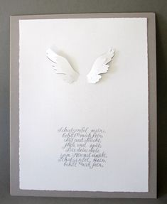 """Ein wunderschönes Geschenk zur Taufe oder Geburt! """"Schutzengel mein..."""" - ein besonderer Text ist hier in grauer Tinte kalligraphiert und auf feines Bütten mit Wasserzeichen gedruckt.  Danach..."""
