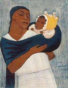 En esta pintura Jean Charlot representa a una mujer indígena cuidando de su bebé y tratándolo con el incomparable amor materno.