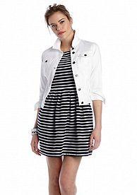 crown & ivy™ Petite Seaside White Jean Jacket
