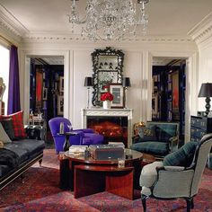 The master of the mix, Ralph Lauren. With suit inspired fabrics and rich, purple velvet. Heaven. #beautiful #design #decor #interior #instagood #interiordesign #homedecor #furniture #elegant #chandelier #classic #rich #texture #layers #black #white #color #purple #blackandwhite #traditional #modern #style #fashion #sartorial #handsome #ralphlauren #blanco