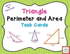 Triangle Perimeter and Area Task Cards- students will practice finding the perimeter and area for a variety of triangles using this set of 20 task cards.  By Hello Learning $