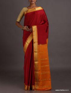 Neera Kumkum Red And Turmeric Yellow Festive #MysoreSilkSaree