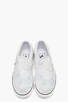 KENZO White Cloud Print Vans Edition Slip-ons