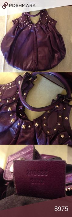 Authentic Gucci Handbag Authentic purple leather Gucci handbag.  Silver accents and black interior.  One zipper pocket on inside.  Excellent gently used condition.  No box or dust cover. Gucci Bags Hobos