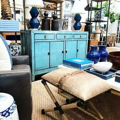Shades of blue at Mecox Los Angeles #cowhide #interiordesign #home #decor #design