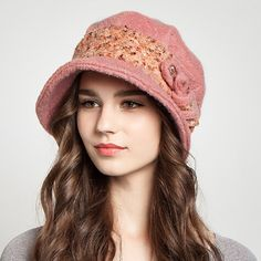 Winter bucket hat with bow for women elegance wool hats