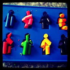 make your own Lego Men crayons! I have this ice tray too, these would be great in the goodie bags of a lego party.