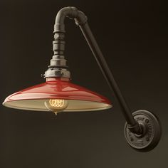 Black-Angled-Plumbing-pipe-wall-lamp-red-enamel-coolie