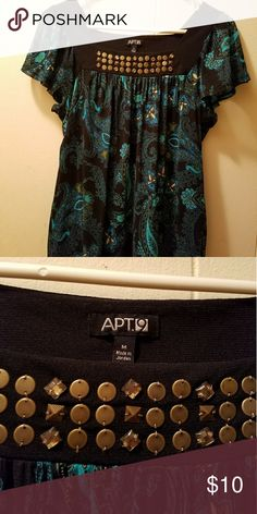 Apt 9 short sleeve blouse, Medium 100% nylon lining, 100% polyester.   Worn only once . Apt. 9 Tops Blouses
