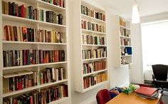 Awesome bookshelves built-in for office use