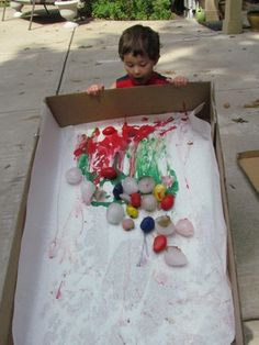 Paint with ice! Would be fun to do as a group in the cooler months.