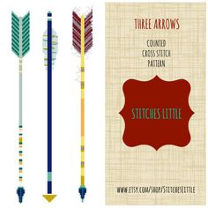 Arrow Cross Stitch Pattern - Modern Cross Stitch Pattern - Three Arrows - PDF Pattern - Instant Download