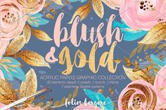 Blush & Gold Graphic Collection by Karamfila on @creativemarket