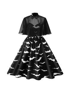 Halloween Plus Size Bat Print Dress Women Punk Party Dresses Bowknot Self Gothic Dress Clothing Swing Vestidos Black XXX Punk Dress, Gothic Dress, Lolita Dress, Gothic Lolita, Plus Size Party Dresses, Plus Size Outfits, Midi Dress Plus Size, Plus Size Rockabilly, Plus Size Goth