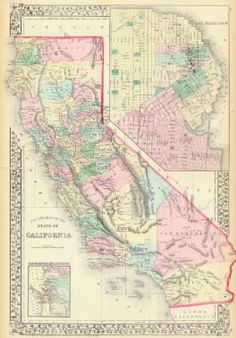 Original 1931 california map vintage picture map antique map county map of the state of california sa mitchell 1875 antique map publicscrutiny Image collections