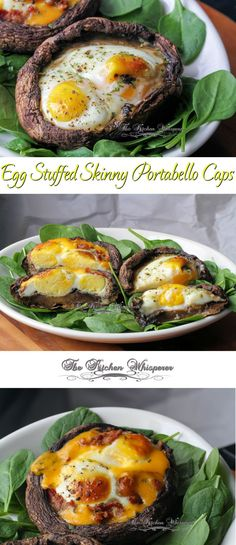 Egg Stuffed Skinny Portabello Caps - perfect for breakfast, lunch, brunch, Lent Dishes or Meatless Monday! Stuffed Portabello Mushrooms, Stuffed Mushroom Caps, Diet Recipes, Vegan Recipes, Cooking Recipes, Avocado Recipes, Breakfast Time, Breakfast Recipes, Paleo Breakfast