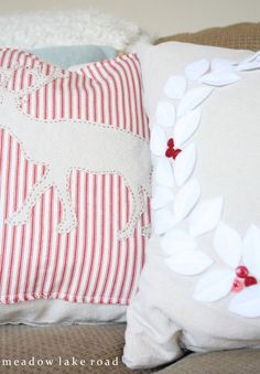 DIY inexpensive Christmas pillows from a painter's drop cloth | Meadow Lake Road