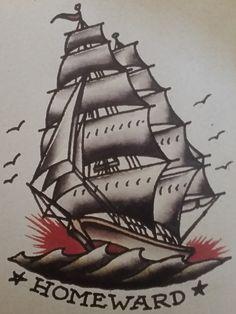 Traditional/old school tattoo, sailor jerry, ship, nautical, homeward bound