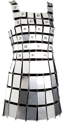 Robe Expérimentale, Carrés et rectangles d'aluminium, Paco Rabanne, 1966, France